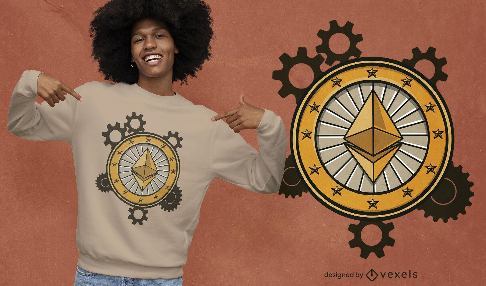 Design de t-shirt Ethereum Gears