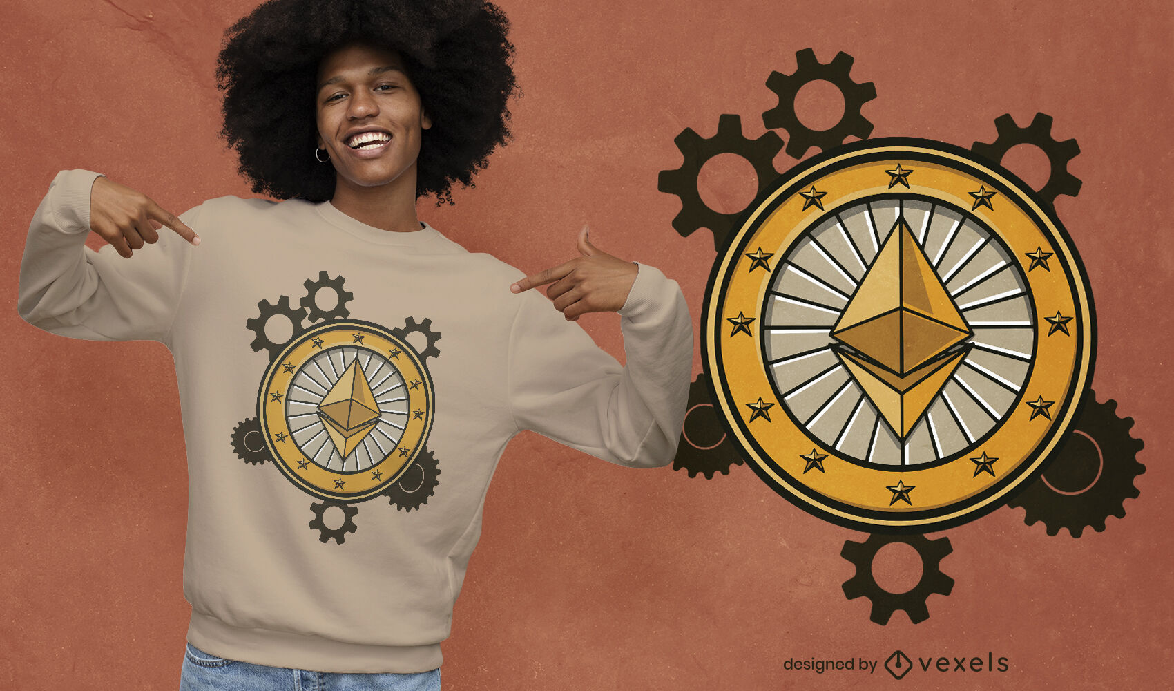 Diseño de camiseta de engranajes ethereum