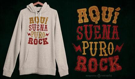 Diseño de camiseta de letras españolas con cita de rock