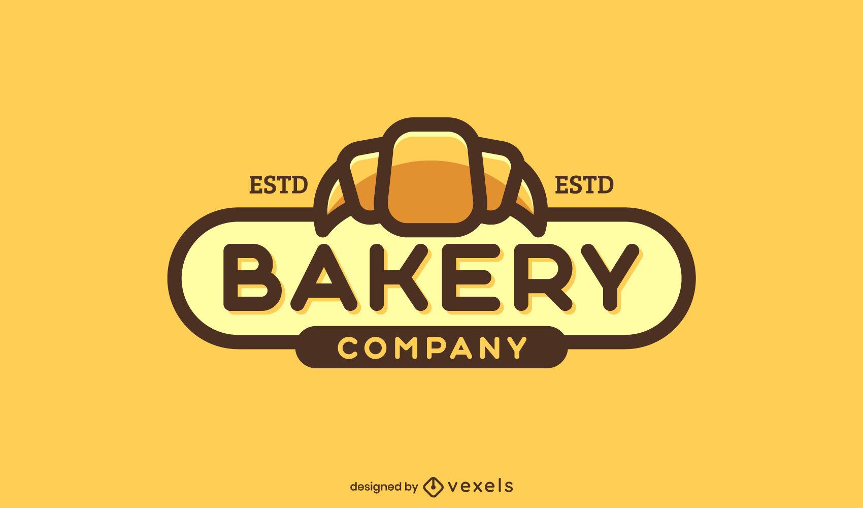 Logotipo da padaria com traço de cor de croissant