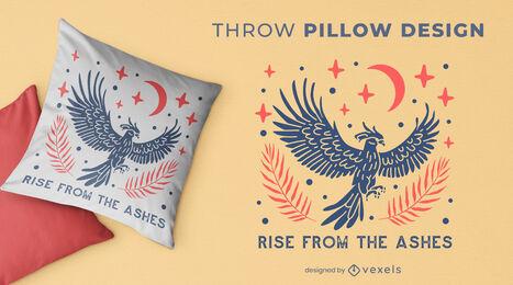 Duotone phoenix throw pillow design