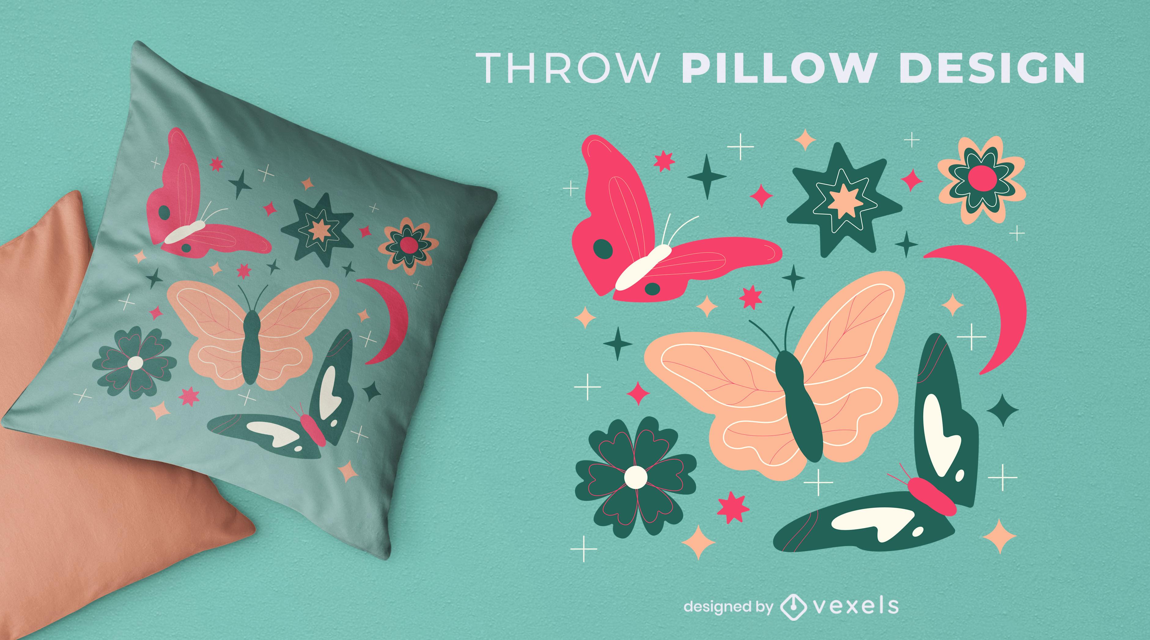 Diseño de almohada de tiro con flores y mariposas.