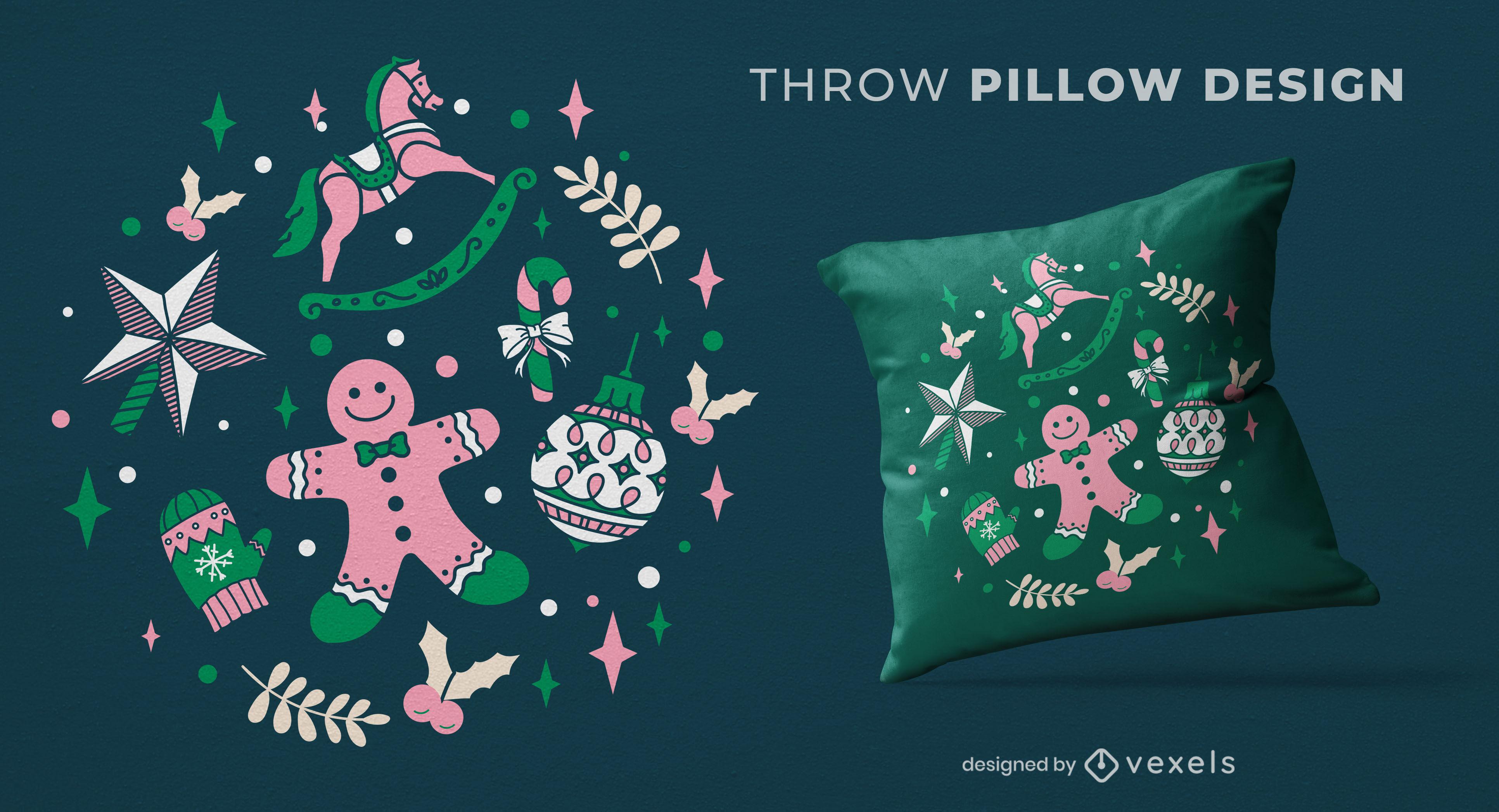 Christmas decorations throw pillow design