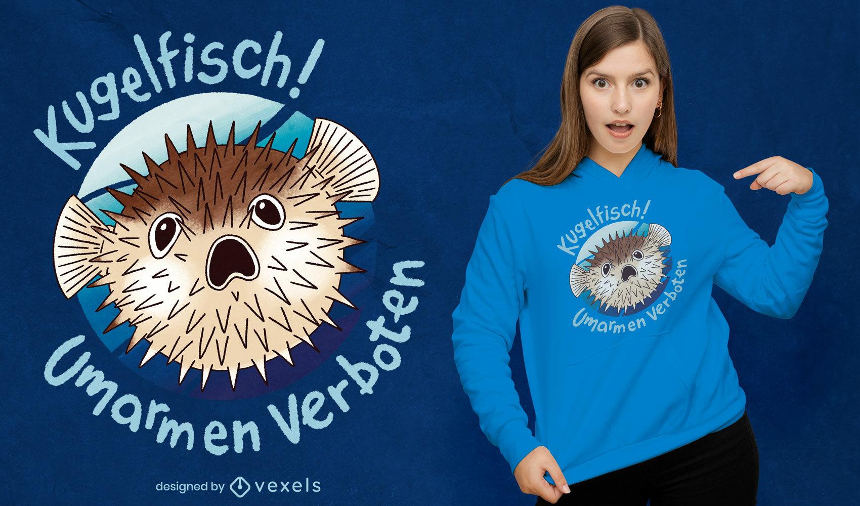 Scared blowfish t-shirt psd