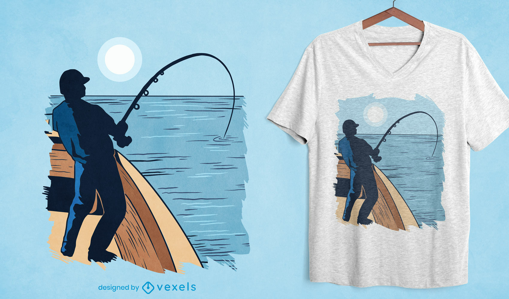 Design de camiseta para pesca em alto mar