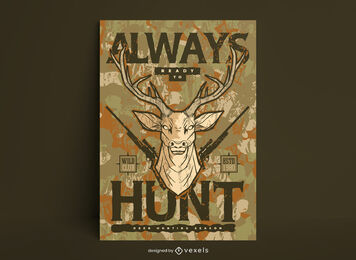 Hunting illustration poster template