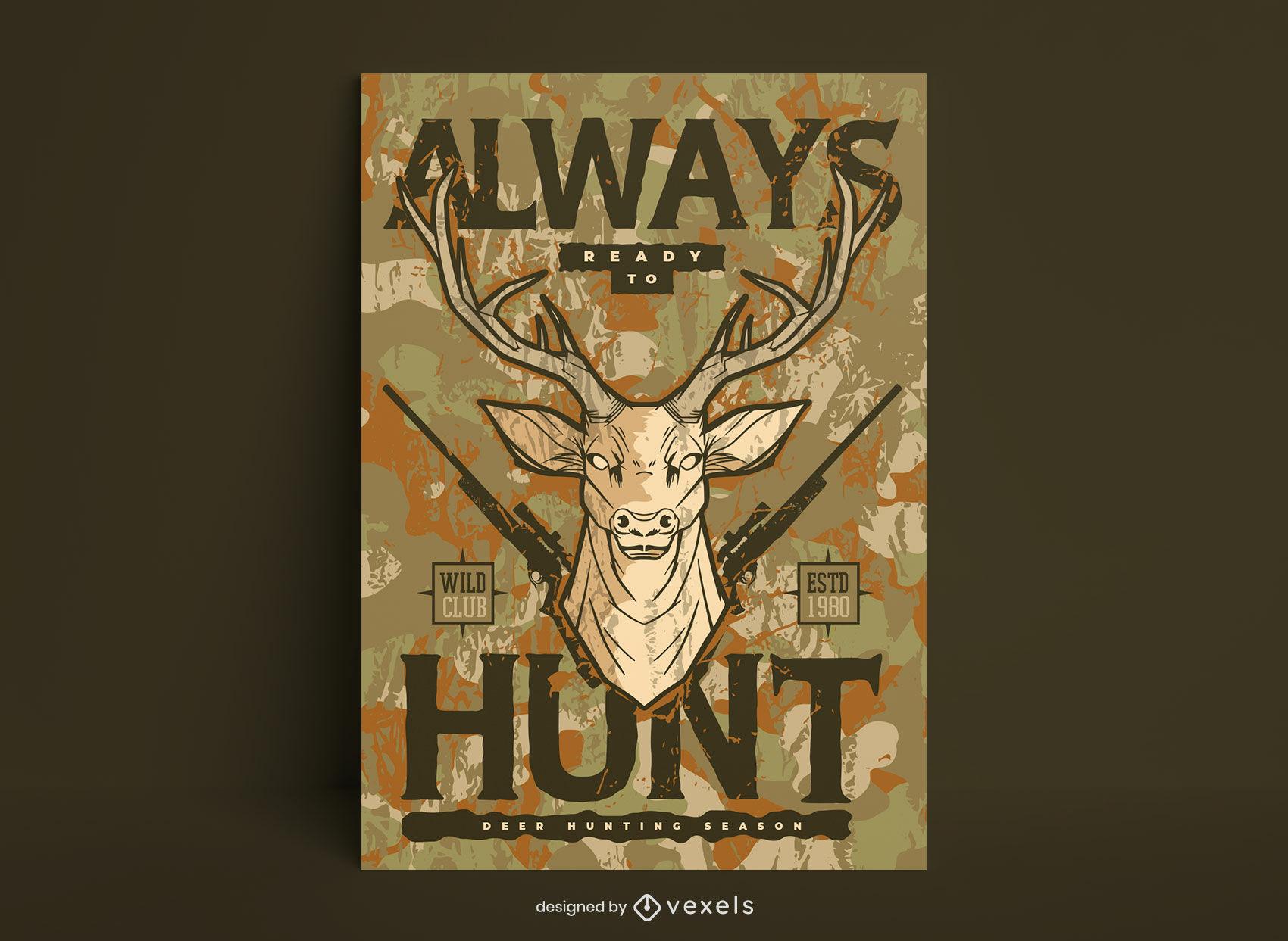 Plantilla de cartel de ilustración de caza