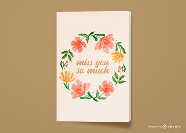 Watercolor flower wreath greeting card