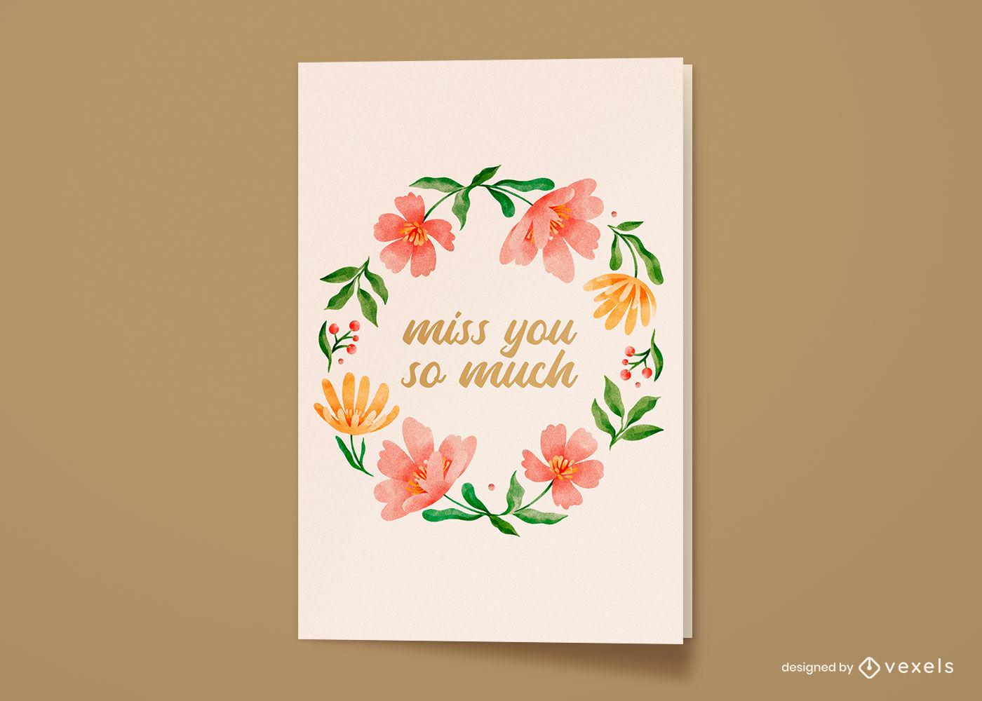 Cartão de felicitações de grinalda de flores em aquarela