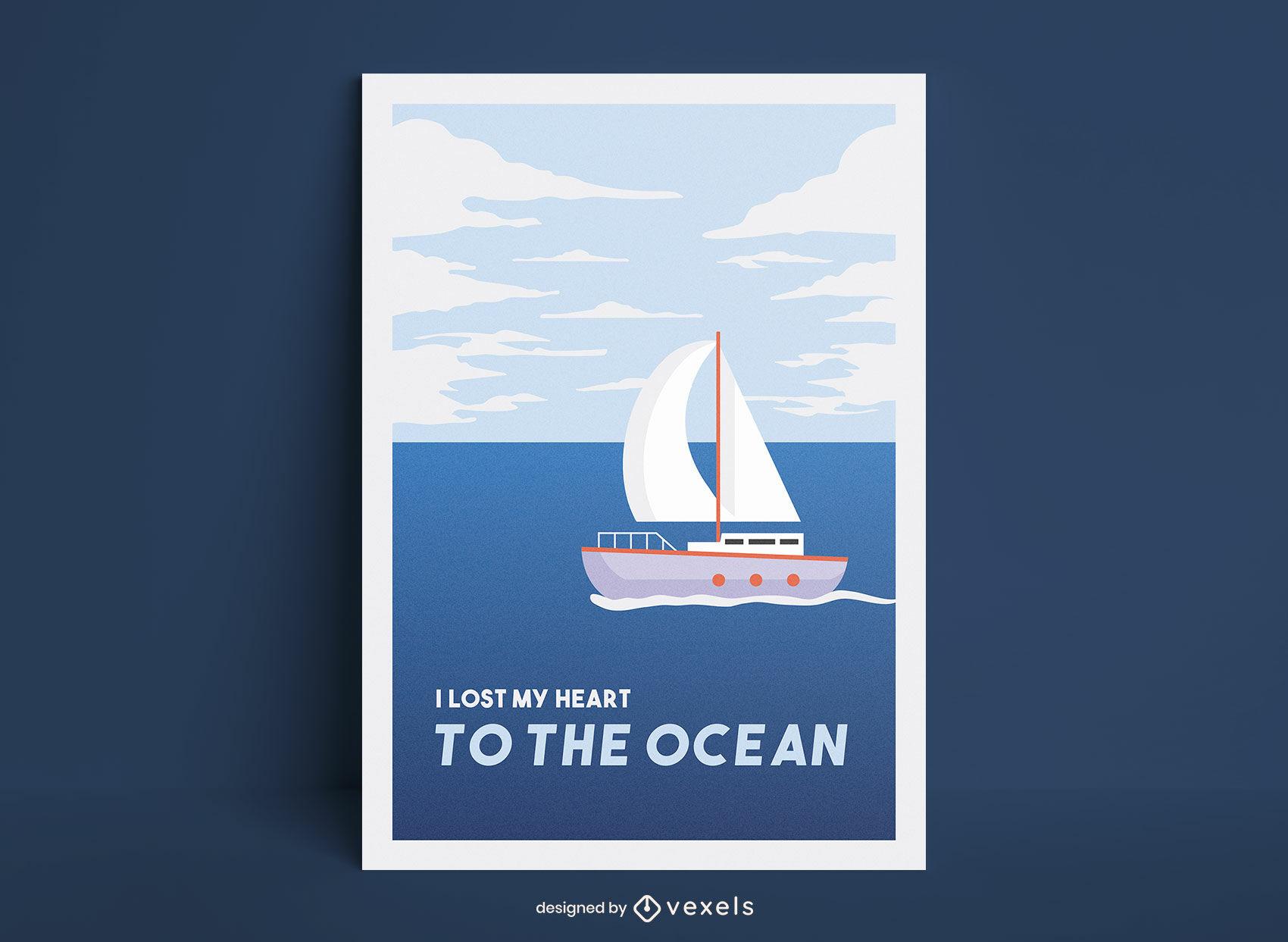 Ilustración de cartel de barco de vela