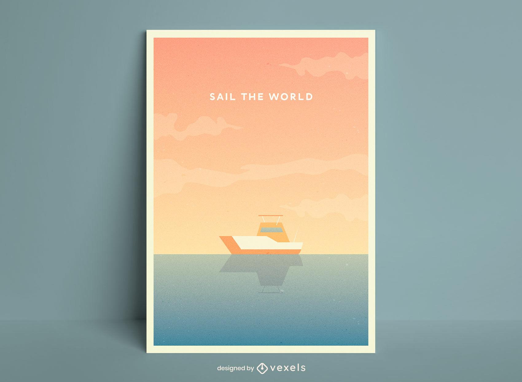 Cartel de ilustración de barco de vela