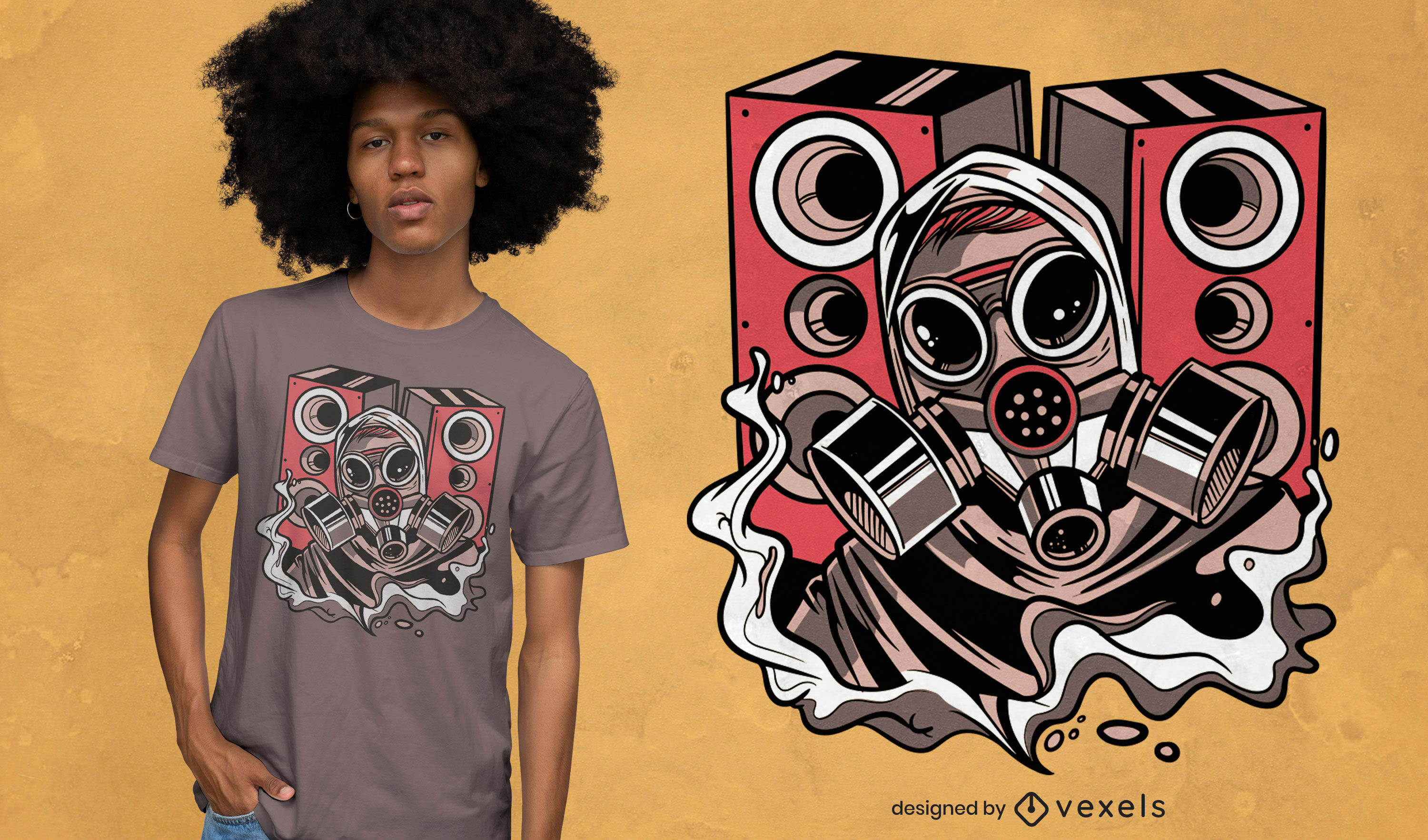 Gas mask and speakers t-shirt design