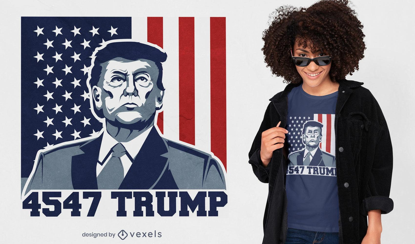 Diseño de camiseta de bandera americana de trump vintage