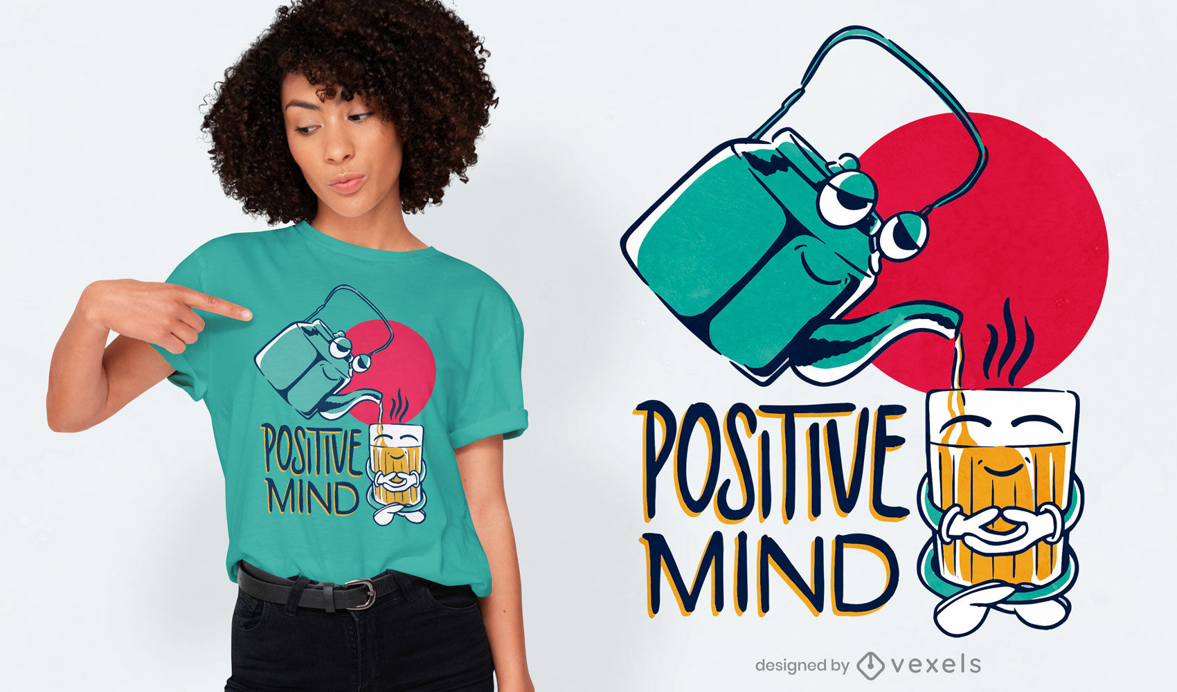Tea characters quote t-shirt design