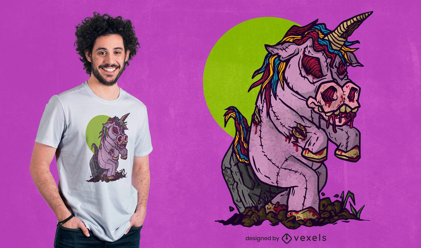 Design de camiseta boneca zumbi unicórnio