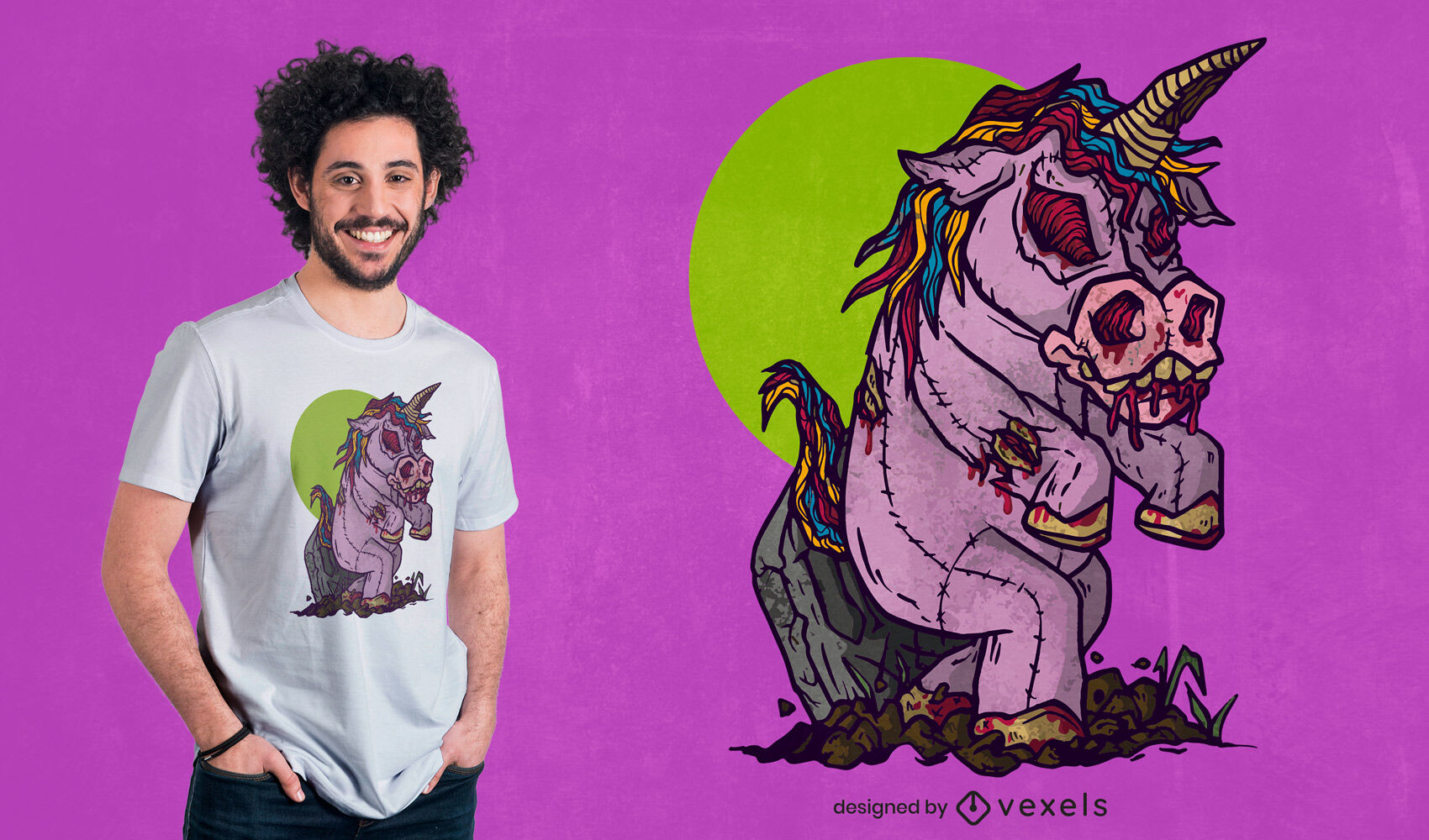 Dise?o de camiseta de mu?eca de juguete unicornio zombie.