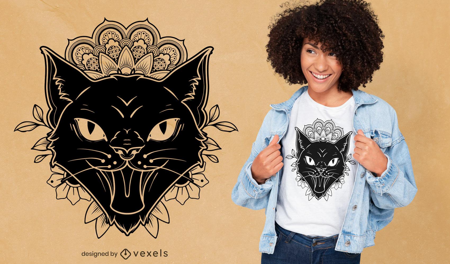 Diseño de camiseta de tatuaje de gato mandala