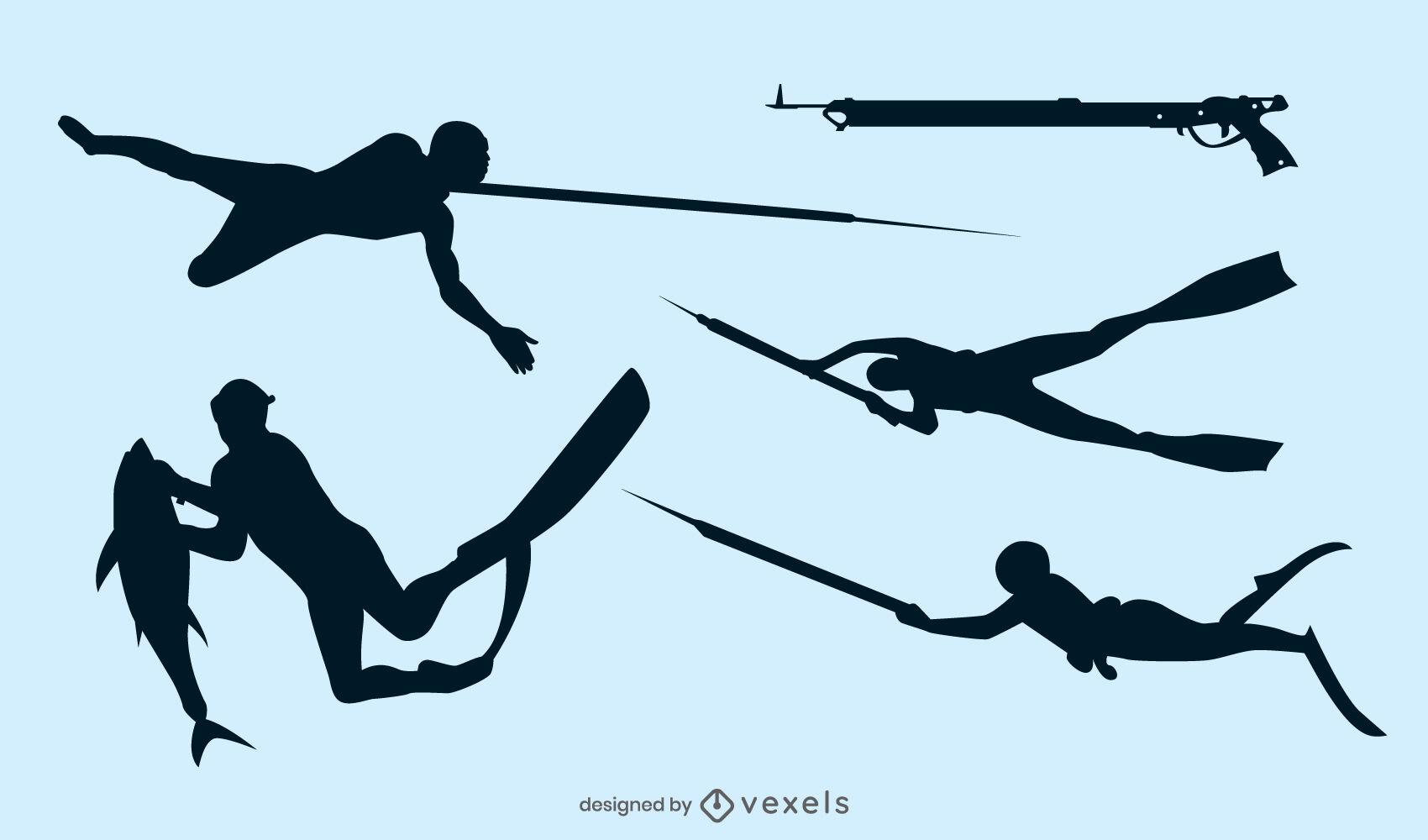 Underwater spearfishing silhouette set