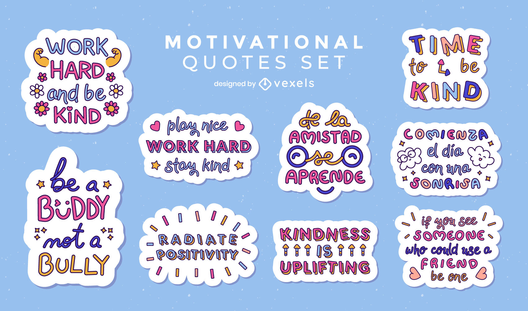 Kindness lettering quotes set of stickers