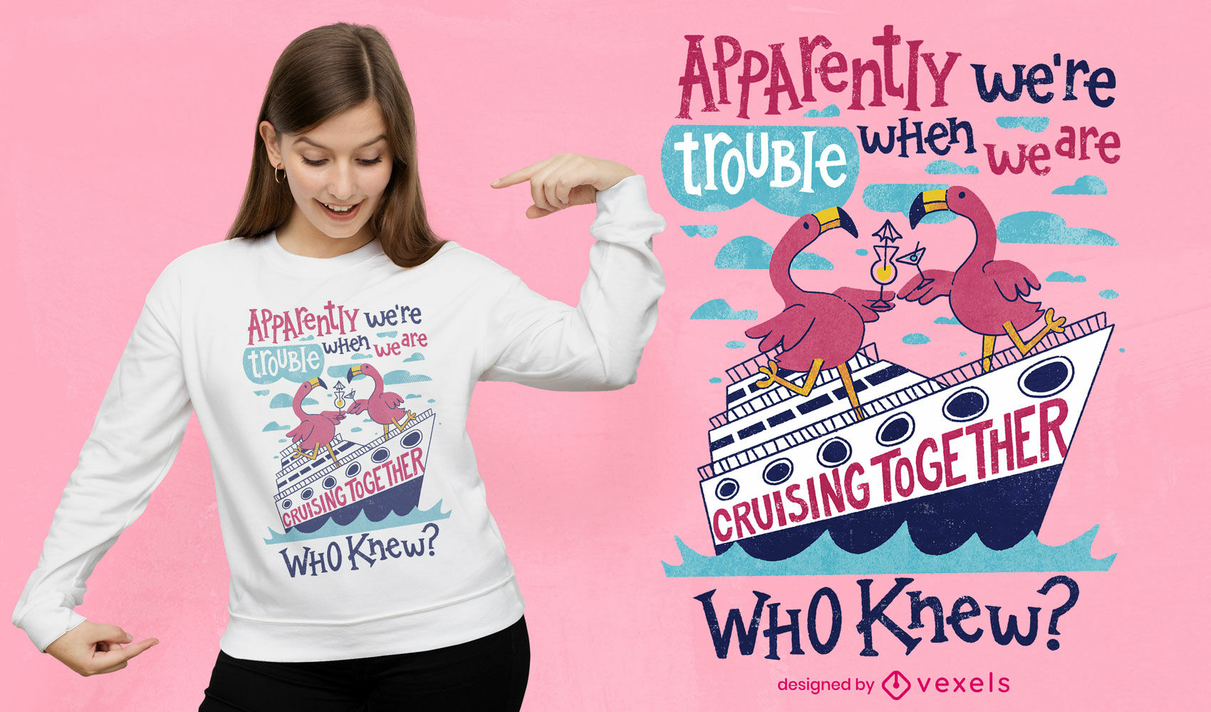 Flamingo cruise ship trouble t-shirt psd