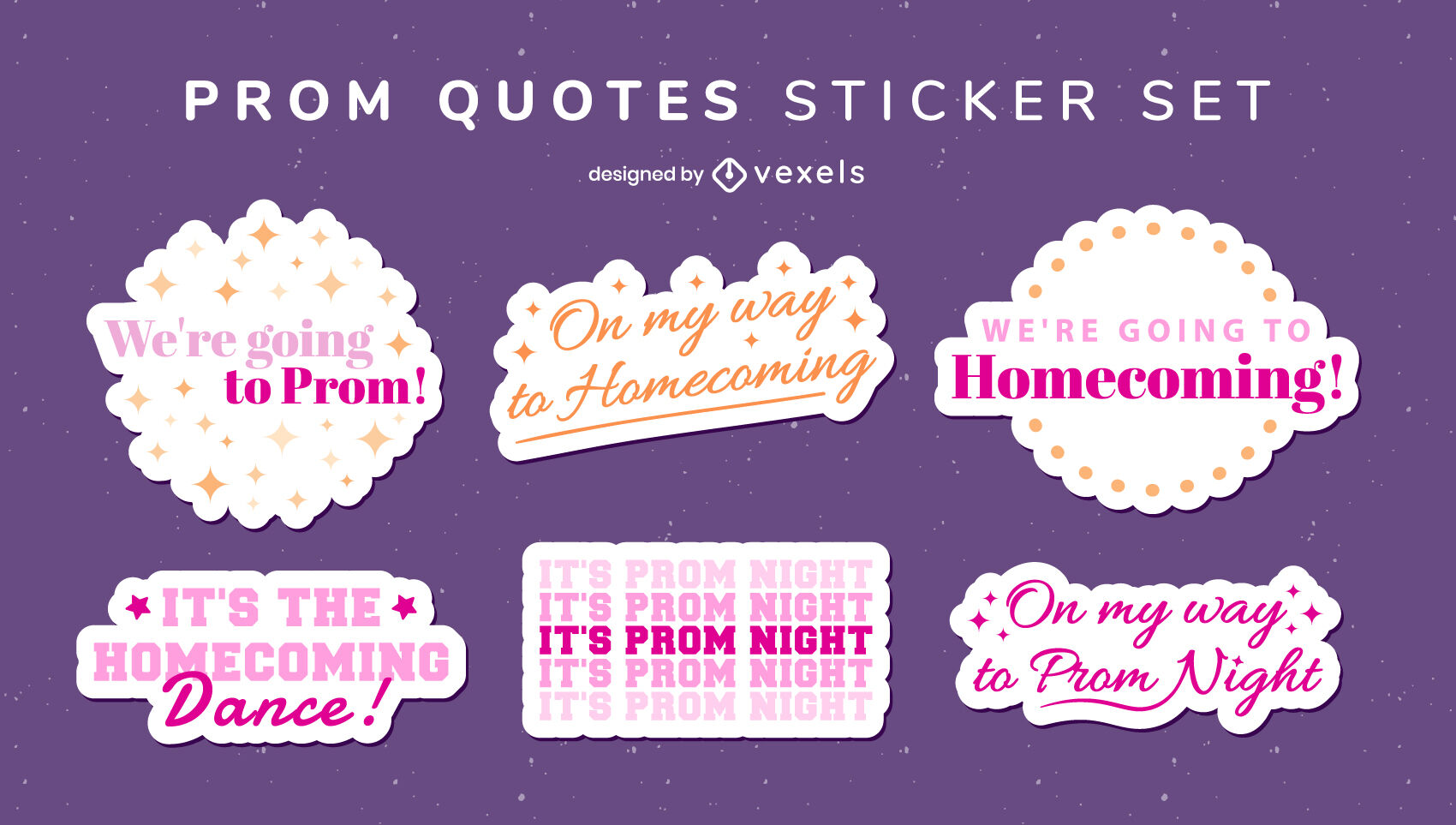 Prom quotes stickers set