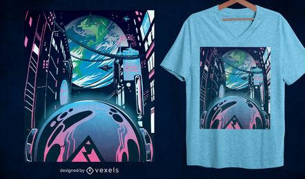 Futuristic city neon t-shirt design
