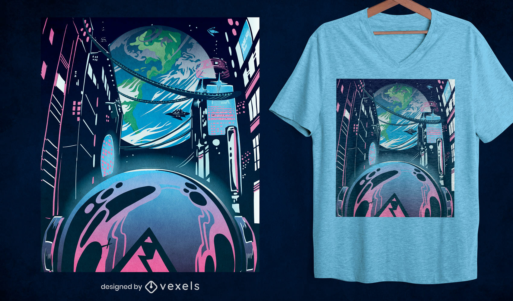 Diseño de camiseta de neón de ciudad futurista.
