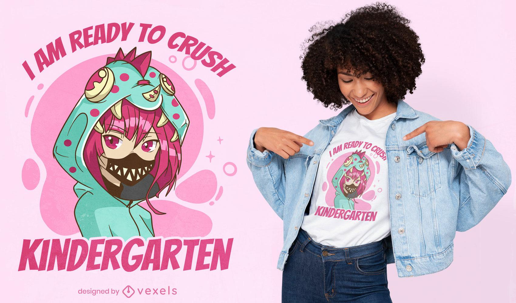 Kindergarden anime girl t-shirt design