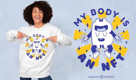 Diseño de camiseta de divertidos dibujos animados retro con logotipo de Bitcoin