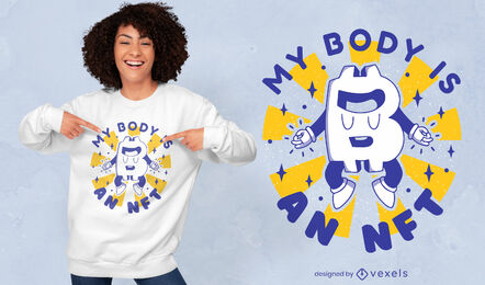 Lustiges Retro-Cartoon-T-Shirt-Design des Bitcoin-Logos