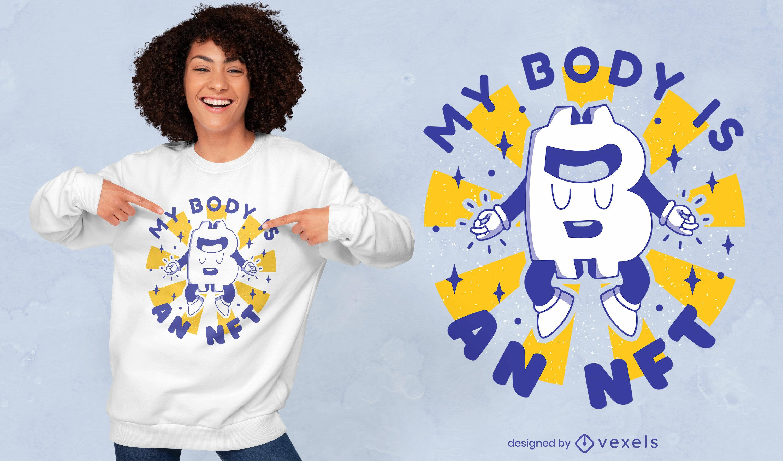 Design de t-shirt retro engraçado do logotipo do Bitcoin