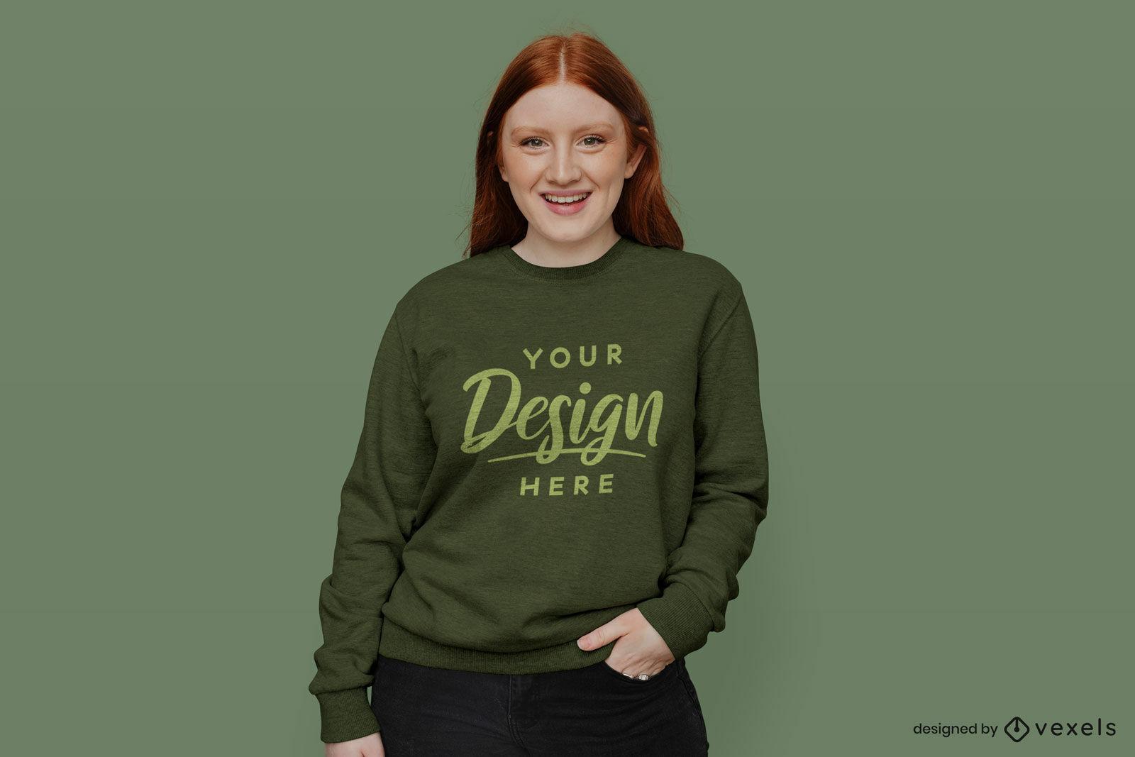 Ginger girl wearing green sweatshirt mockup