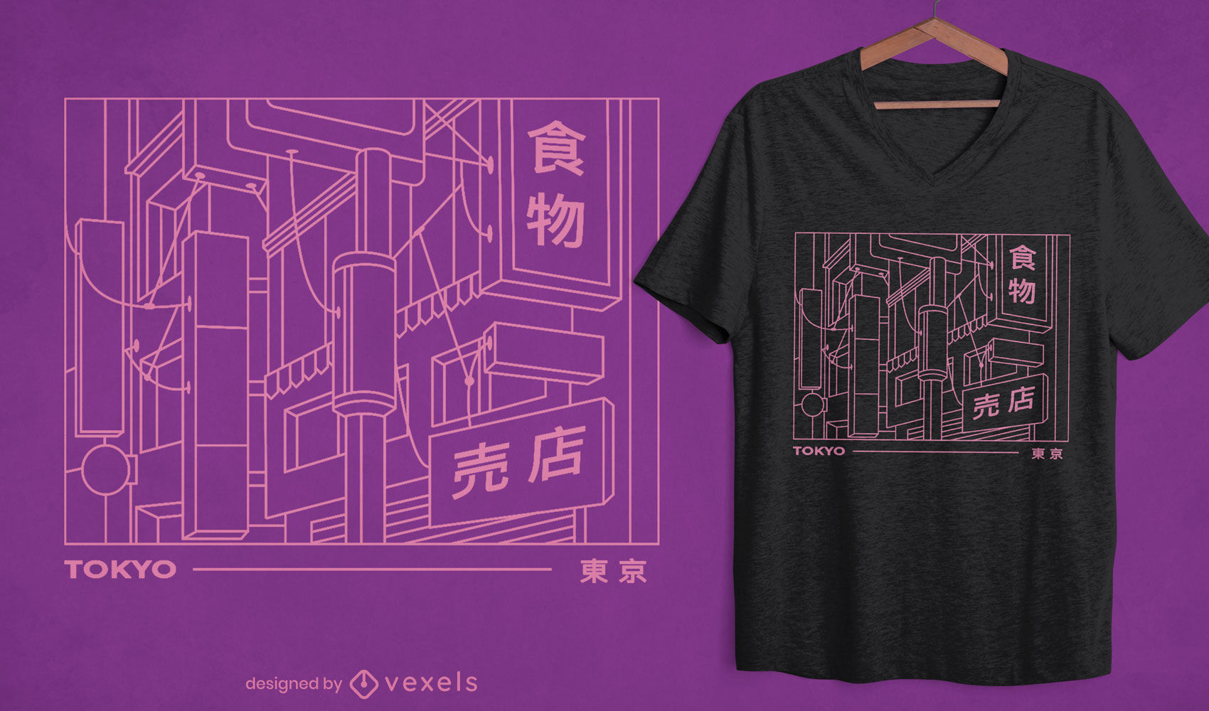 Diseño de camiseta de signos de Tokio.