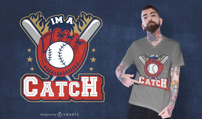 Baseball fun sport equipment t-shirt design