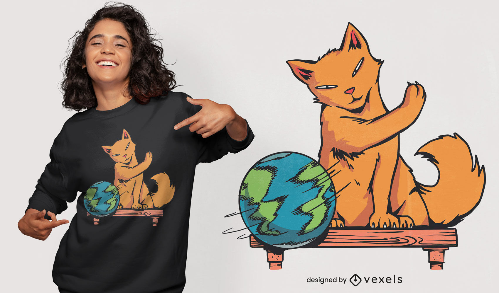 Cat animal playing with planet t-shirt design