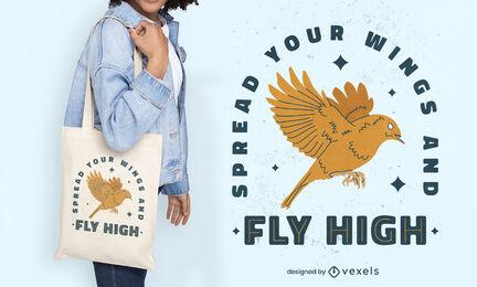 Bird quote badge tote bag design