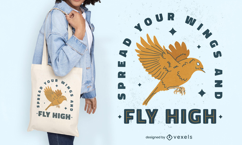 Diseño de bolsa de asas con insignia de cita de pájaro