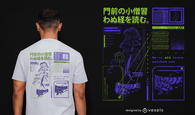 Japanese tree vaporwave psd t-shirt design