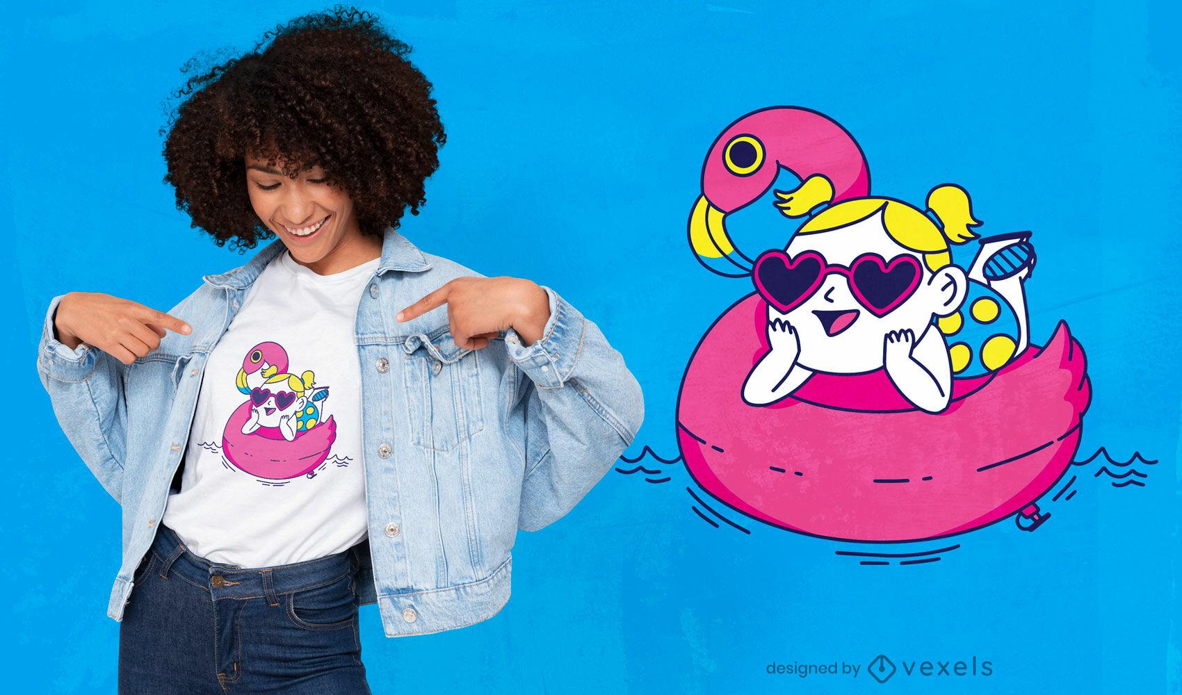 Garota com design de camiseta flutuante flamingo