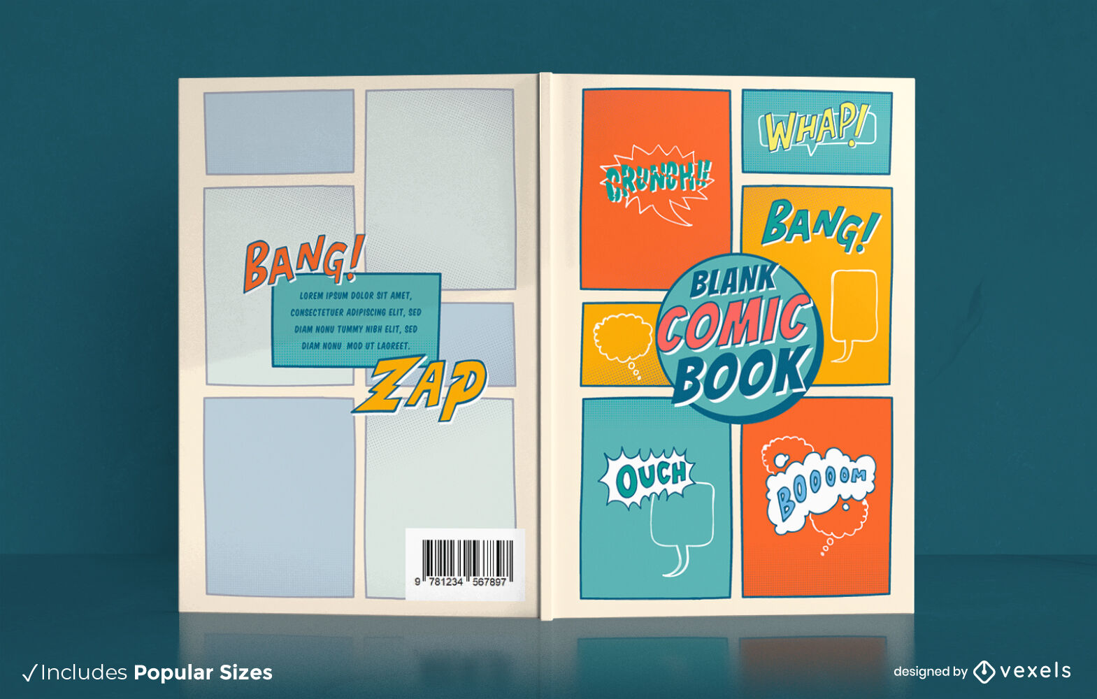 Vintage blank comic book art cover design
