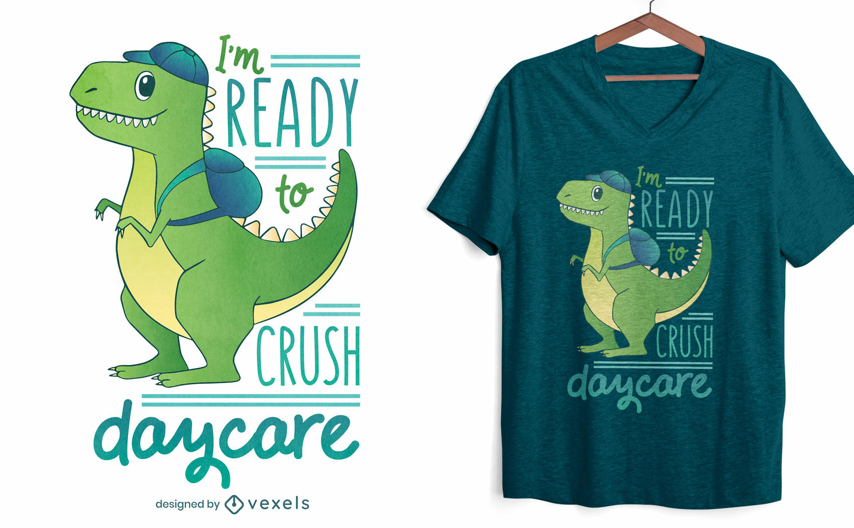 Diseño de camiseta de guardería t-rex.