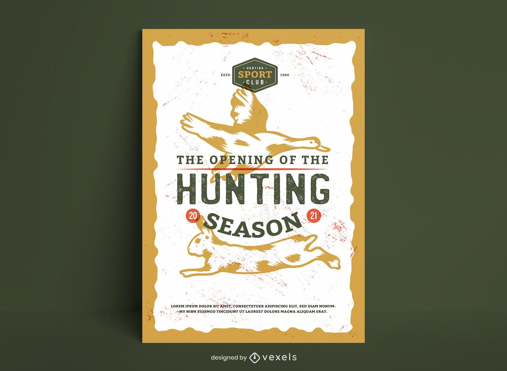 Design de pôster da temporada de caça de animais