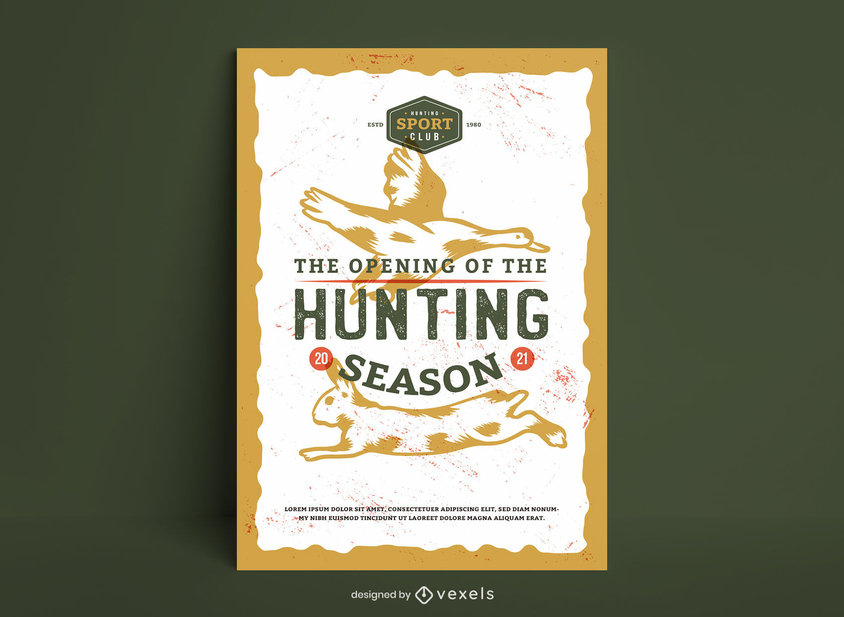 Dise?o de cartel de temporada de caza de animales.