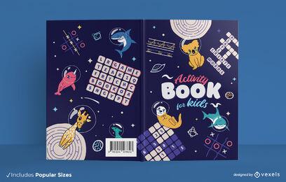 Diseño de portada de espacio de libro de actividades para niños.