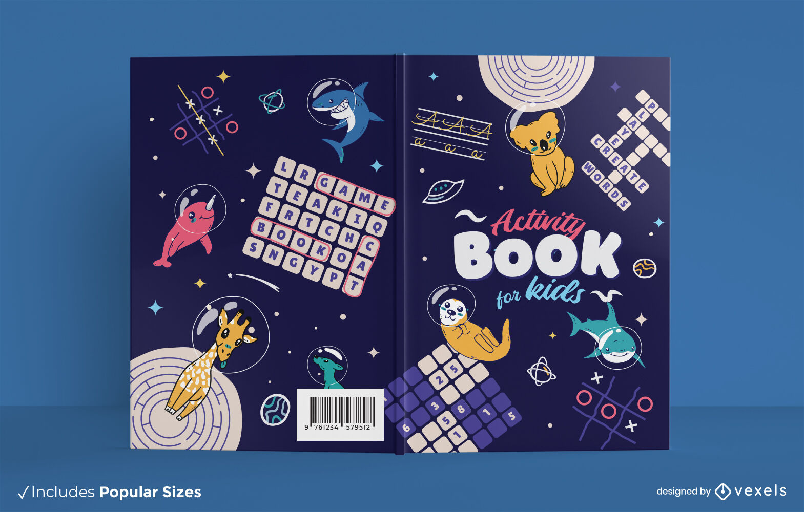 Childrens activity book space cover design