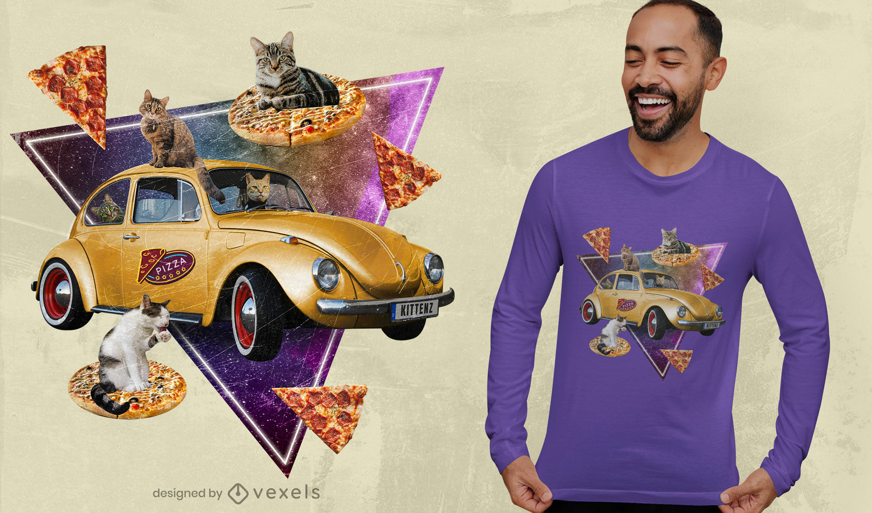 Cat pizza car photographic collage t-shirt psd