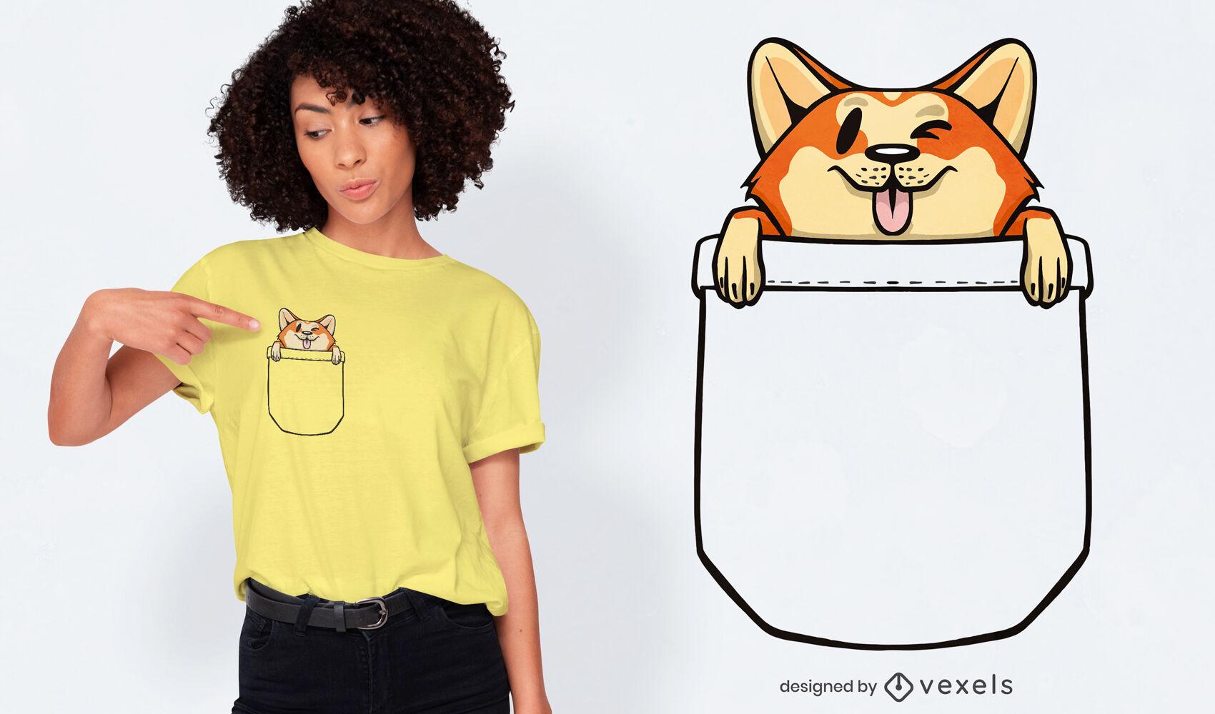 Perro Corgi en diseño de camiseta de bolsillo.