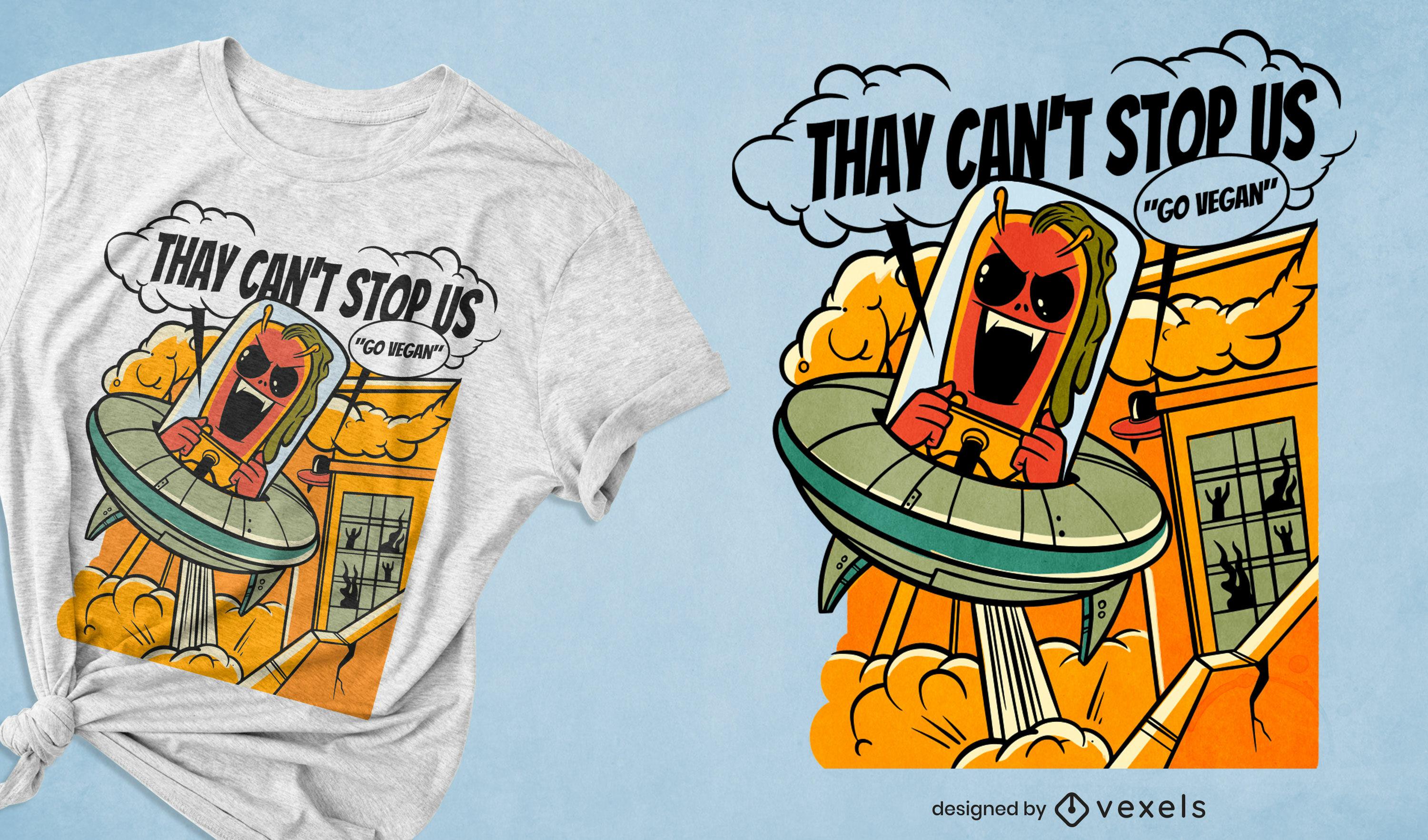 Vegan alien t-shirt design