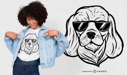 Diseño de camiseta de perro fresco con gafas de sol.