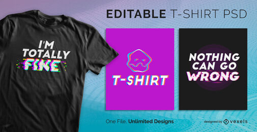 Glitch text quote scalable psd t-shirt